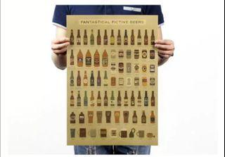 Fantastic Fictive Beers Chart Poster Vintage Kraft Paper Wall Decoration 51x35cmFantastic Fictive Beers Chart Poster Vintage Kraft Paper Wall Decoration 51x35cm