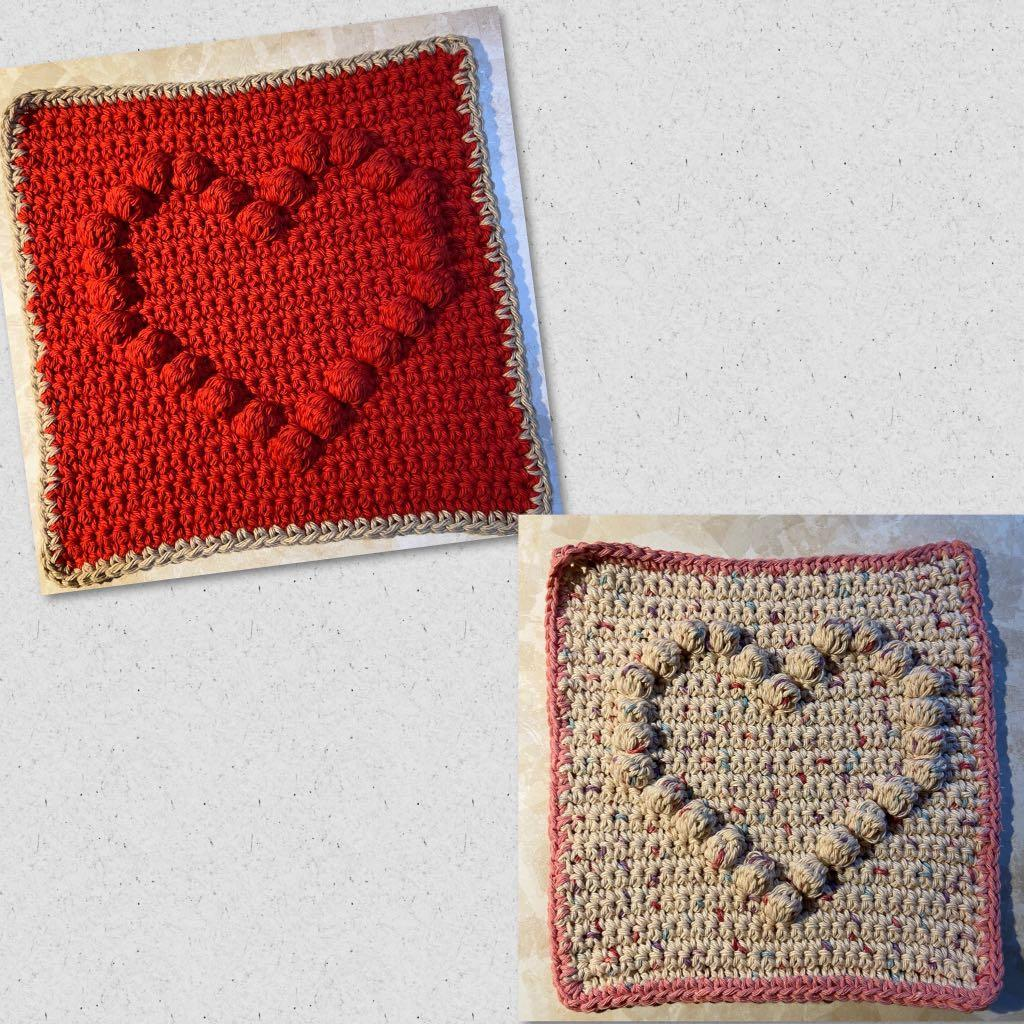 100% cotton Crochet dish/ wash cloth Heart Square