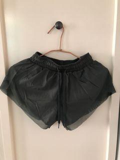 慢跑褲 墨綠色 邊緣網狀 內部安全褲材質不曝光