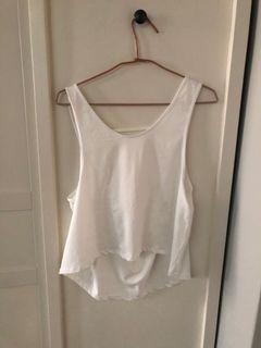 全新 女 純白色 露背背心健身慢跑重訓 排汗透氣材質 運動上衣