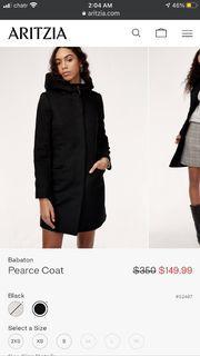 Aritzia Babaton Pearce Black Wool Coat XS