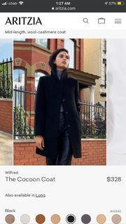 Aritzia Wilfred Cocoon Black Wool Coat