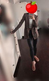 Bershka 千鳥格紋 中厚 西裝外套 長版 修身 有腰身 OL 韓風小姊姊 歐美部落客