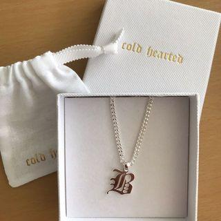 Cold Hearted necklace, Old English Letter 'B'
