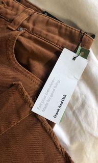 Frank and Oak Wide Leg Woman's Brown Denim Jeans Brand New