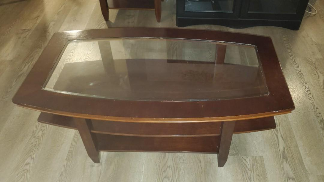 Glass Centre Wooden Coffee Table
