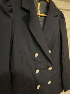 Pazzo 深藍雙排扣風衣外套