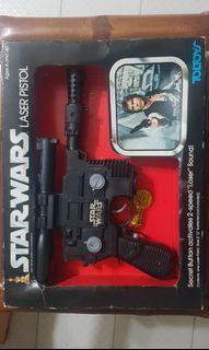 Rare Near Mint Vintage Toltoys 1978 Star Wars Han Solo Laser Pistol / Blaster with original box