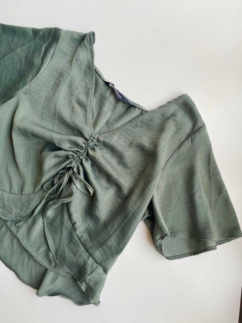 Satin forest green top fit size 6-8