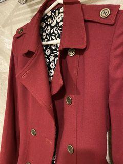 Vieso 紅色雙排扣風衣外套
