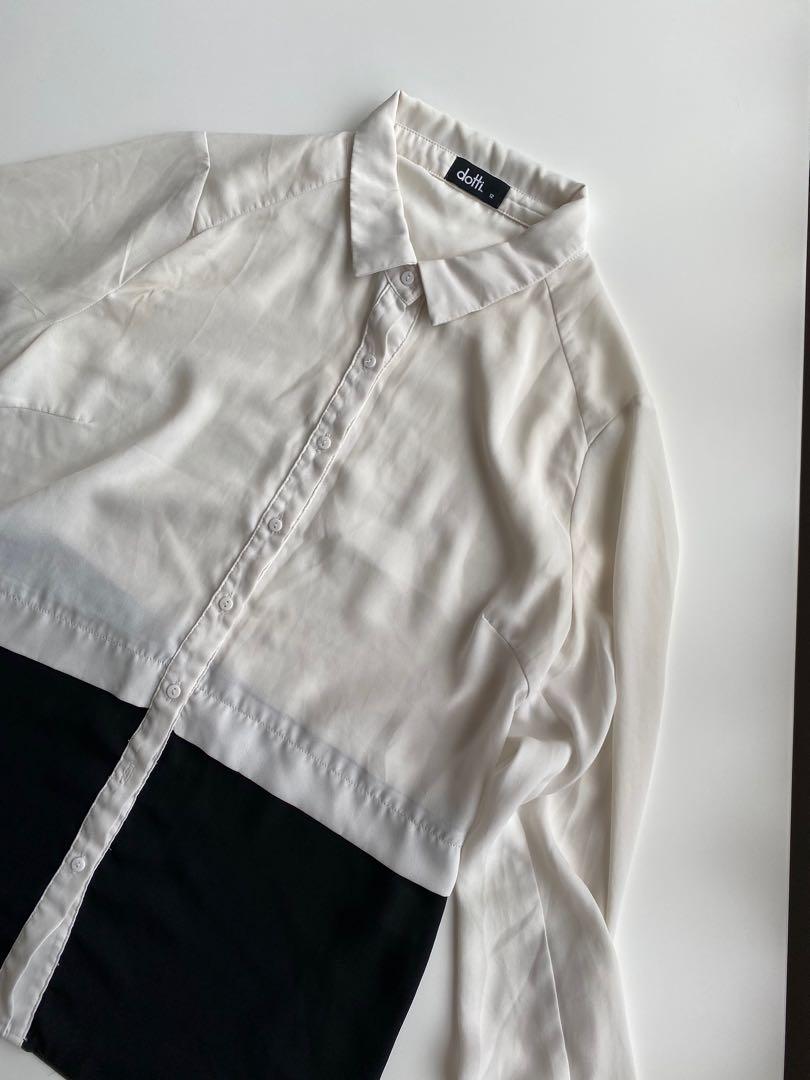White & black blouse size 6-8