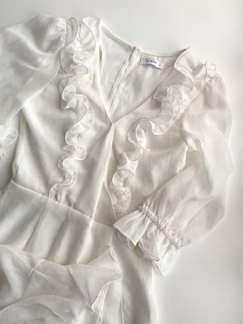 White ruffle dress size 8