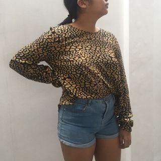 Zara animal printed blouse top