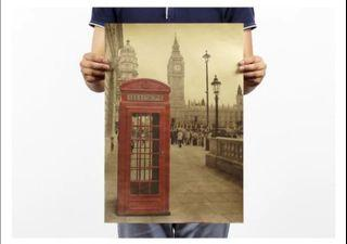 London Telephone Booth Poster Vintage Wall Deco Craft Paper Kraft Paper Cafe Wall Decoration
