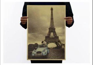 Paris Eiffel Tower with Vintage Blue Car Love in Paris Wall Deco Craft Paper Kraft Paper Cafe Wall Decoration