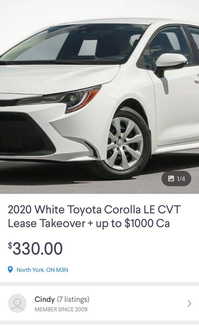 2020 Toyota Corolla LE Lease Takeover