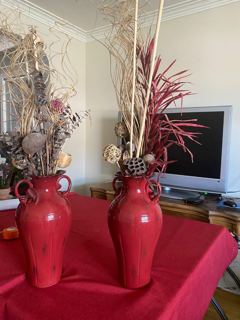 Ethan Allen 2 Ceramic Accent Jars/Vases WITH decor