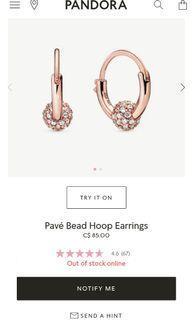 Pandora pave Bead Hoop Earings