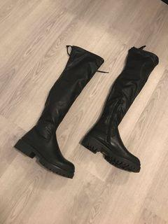 PLT Leather Over The Knee Chunky Boots