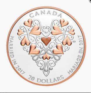 【附真品證書】加拿大皇家鑄幣廠 百年好合 銀幣 Canada Love and Marriage