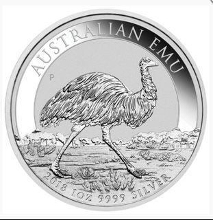 【附真品證書】澳洲柏斯鑄幣廠 鴕鳥銀幣 Australian Emu