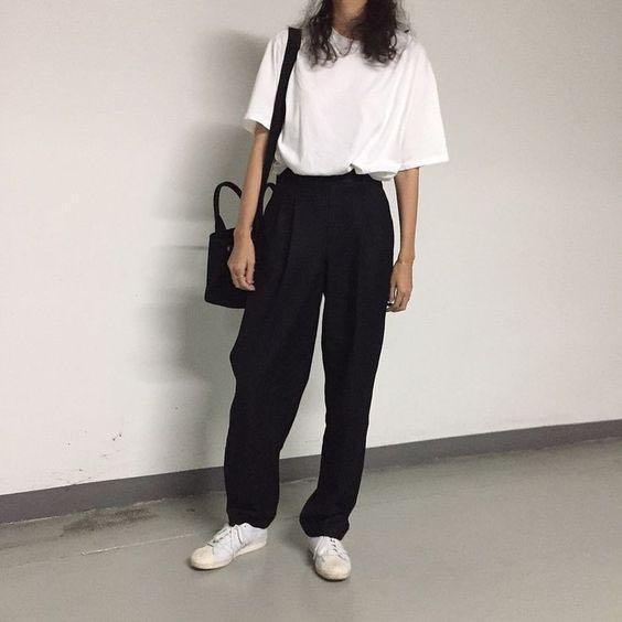 二手 黑色基礎寬褲 西裝褲 M polyester