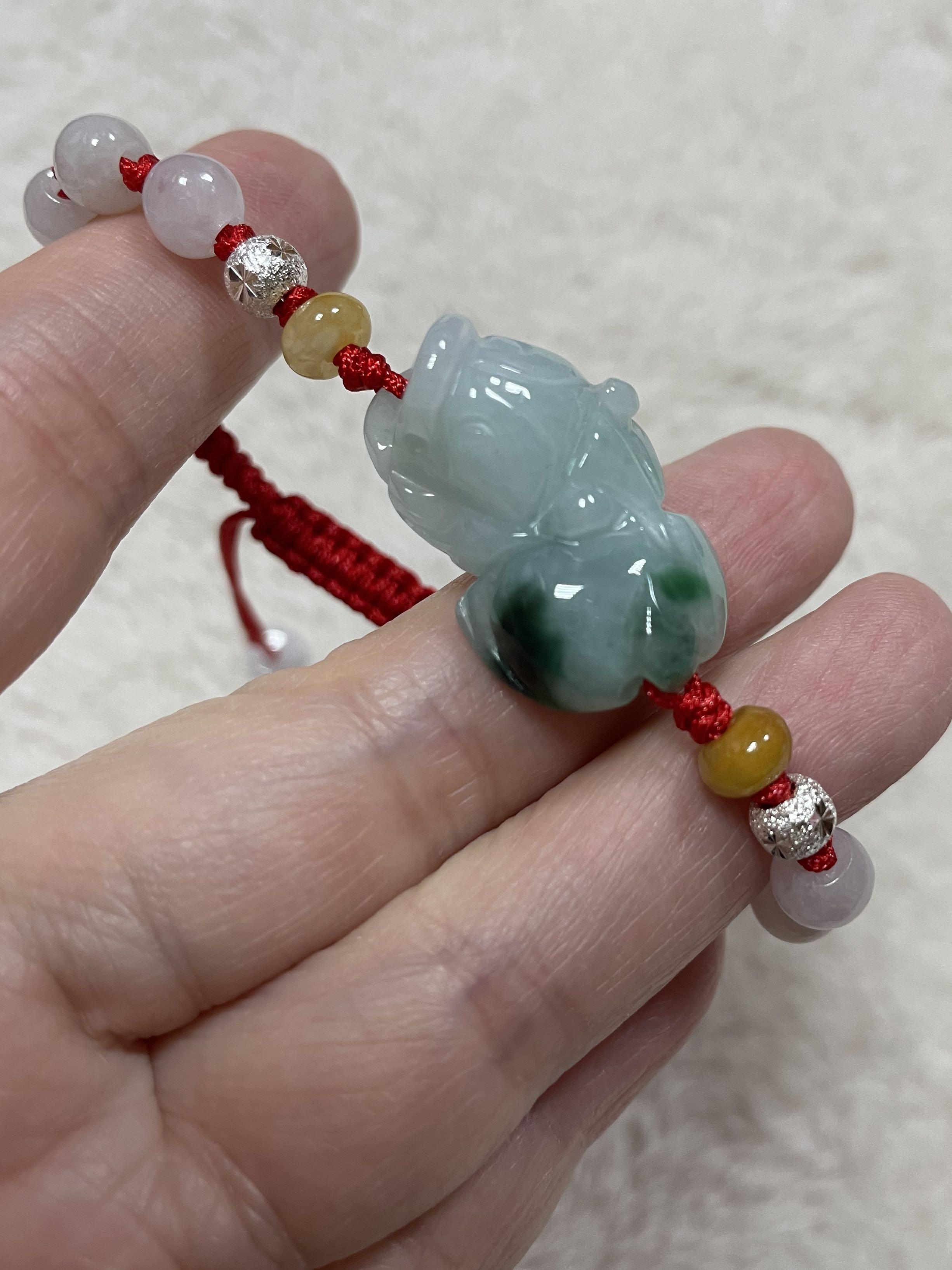 天然翡翠緬甸玉a貨糯冰種淡綠飄花招財貔貅手編繩、貔貅、緬甸玉、翡翠