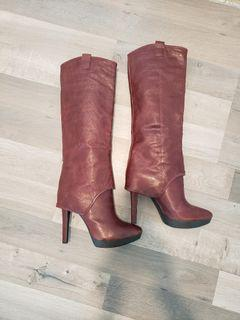 BN Ox Blood/Burgundy Real Leather Knee-High Boots (Size 10)