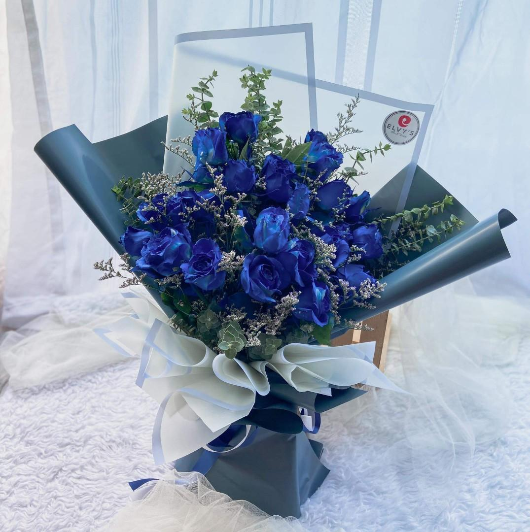 Fresh Blue Rose Flower Bouquet Delivery Gardening Flowers Plants On Carousell