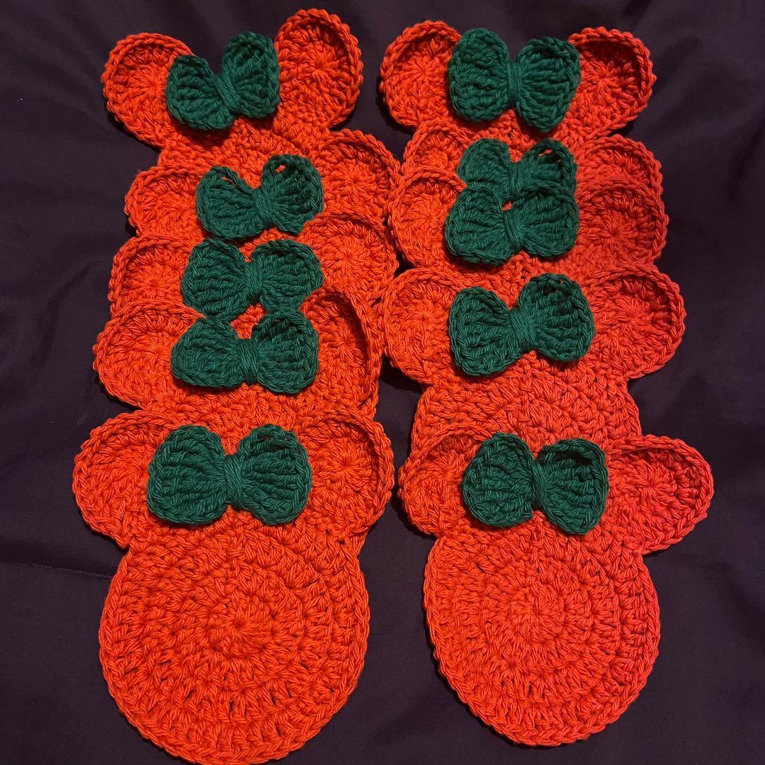 Handmade Crocheted Minnie inspired coasters