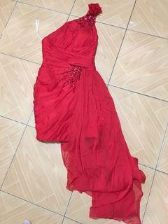 Red formal cocktail gown