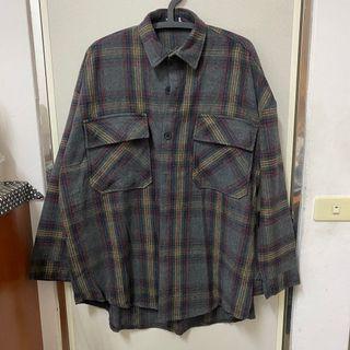 重磅格紋襯衫 外套 男女款