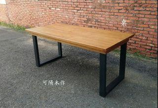 【可陽木作】原木鐵腳長桌(柚木色) / U型鐵腳桌 / 造型桌 / 柚木色餐桌 / 客製木桌 / 茶几