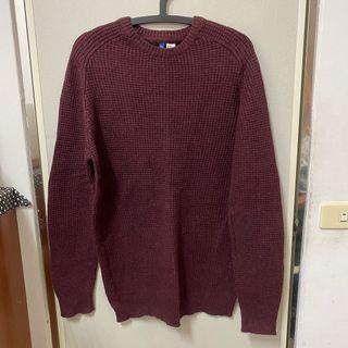 H&M針織衫 酒紅色