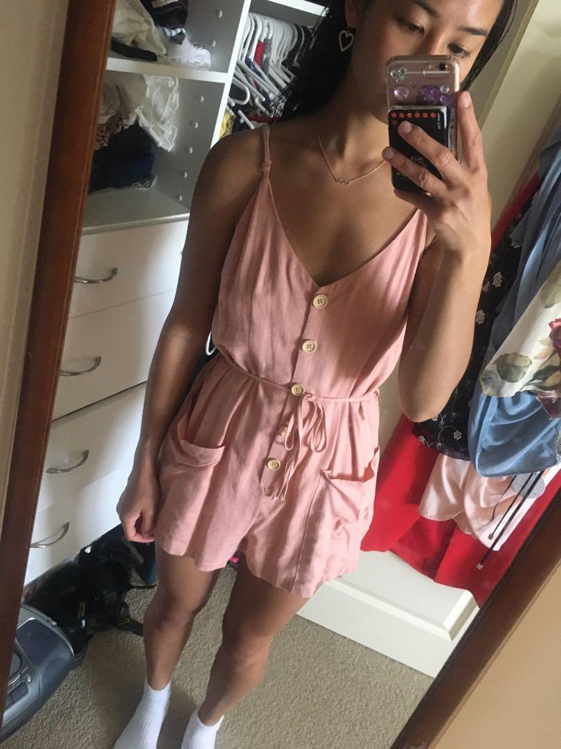 Pink Linen Playsuit