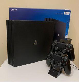 Ps4 pro with charging dock and 2 controllers