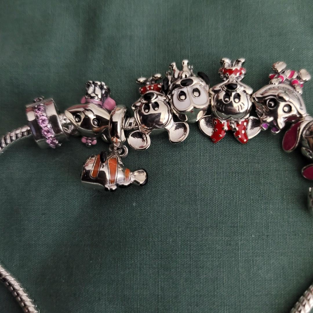 925 silver bracelet with 9 silver charms