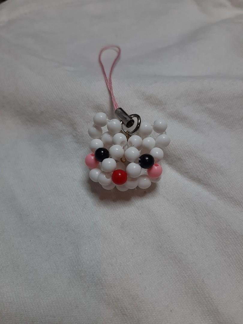 (手作)白色串珠貓咪吊飾