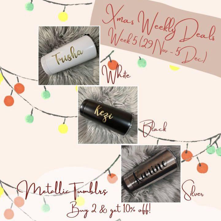 Customised Christmas Gift Metallic Tumblr Design Craft Handmade Craft On Carousell