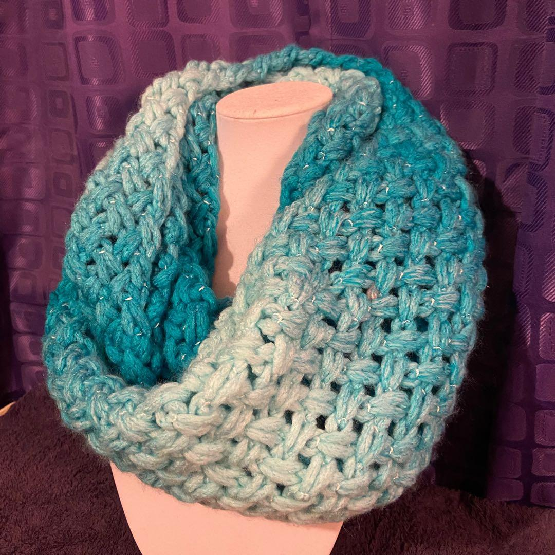 Handmade turquoise ombre infinity scarf