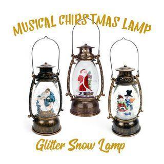 Round Musical Christmas Glitter Snow Led Lamp Lantern USB Santa Snowman Nativity