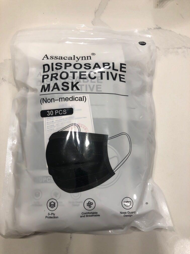 2 packs 30 Disposable Black non medical masks