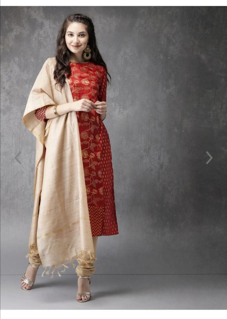 Anouk Women Maroon & Beige Printed Kurta with Churidar & Dupatta, Product Code: 2473994
