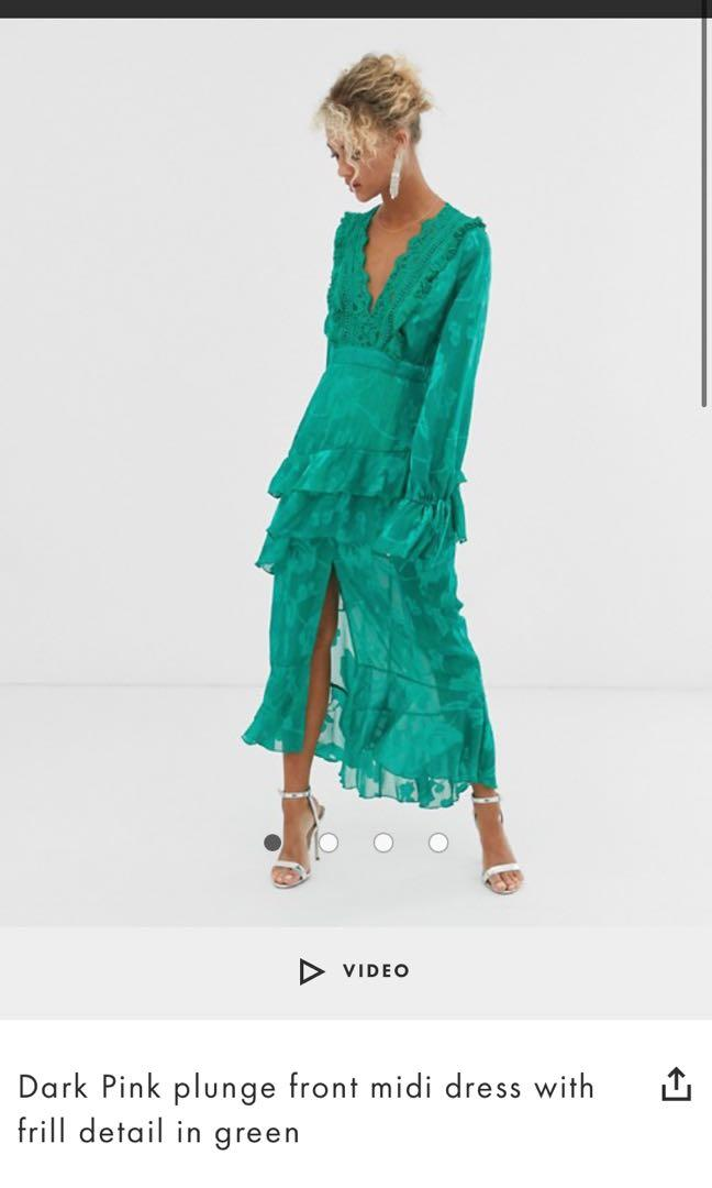 ASOS green dress, size 10, worn once, made into an open back