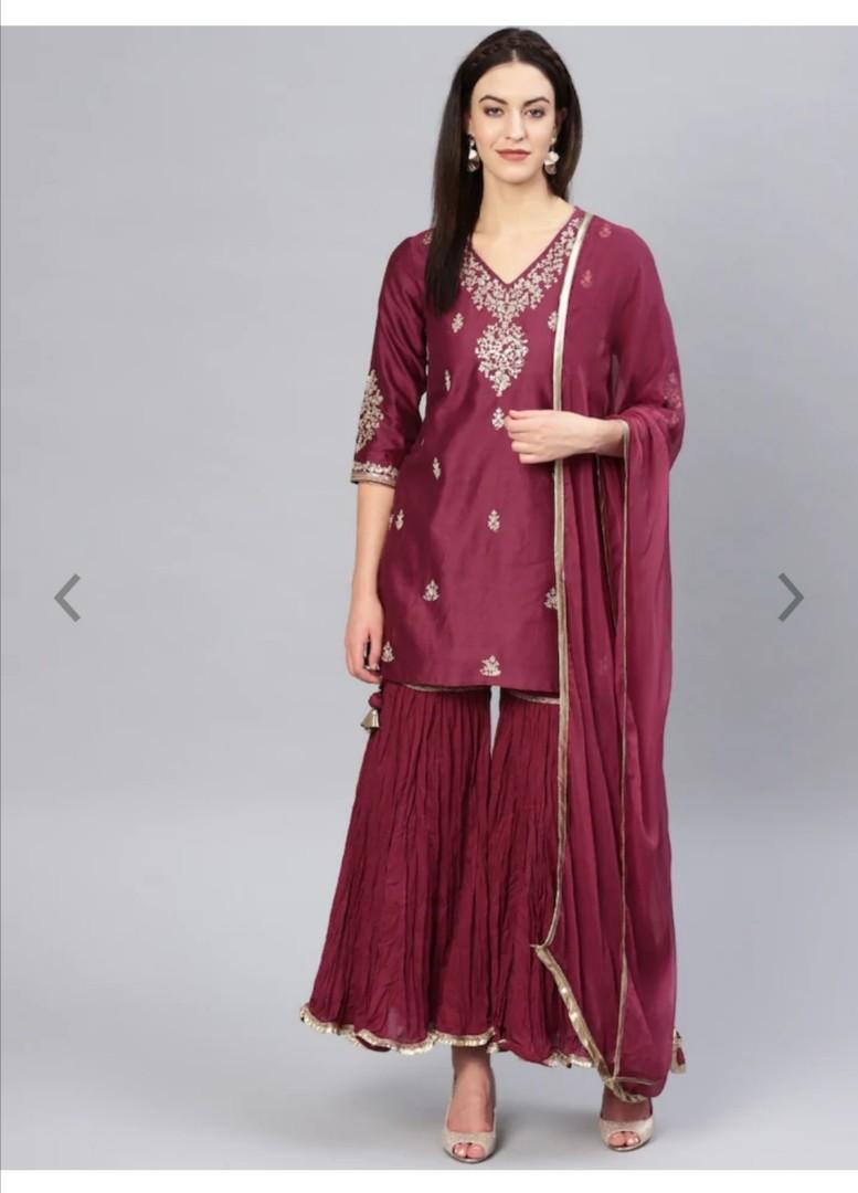 Biba Women Maroon & Golden Embroidered Kurta with Sharara & Dupatta , Product Code: 10452658