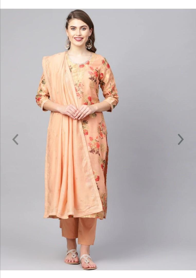 Biba Women Peach-Coloured & Golden Printed Kurta with Trousers & Dupatta, Product Code: 10452656