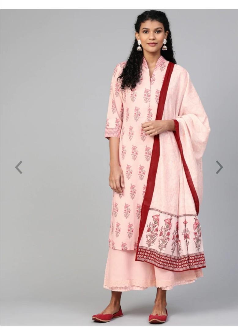 Biba Women Pink Kurta with Palazzos & Dupatta, Product Code: 11620608
