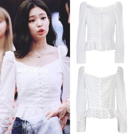 BLACKPINK streetwear kimono white blouse women Small fresh kawaii womens off shoulder tops and blouses female shirt