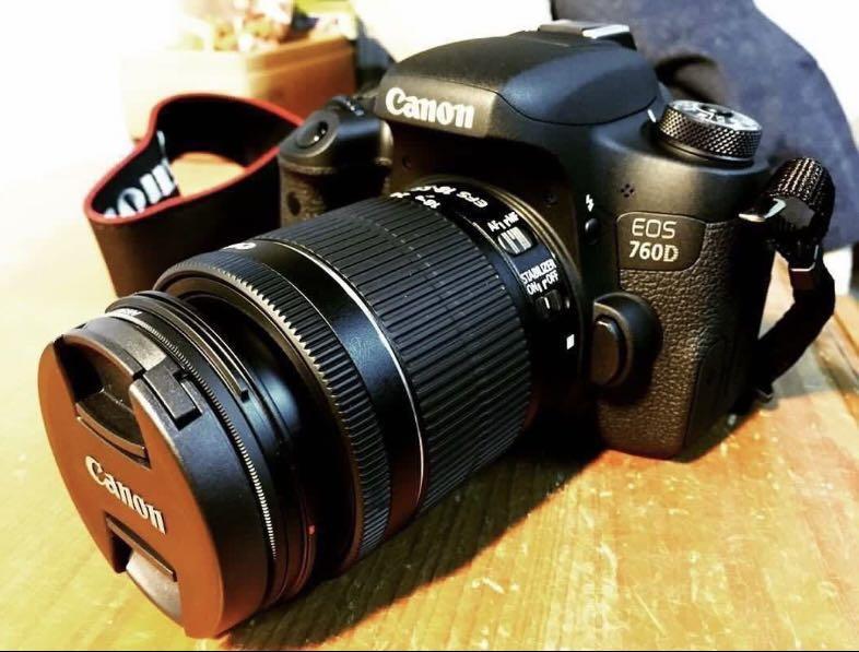 Canon760D機身+18-55mm鏡頭+2顆原廠電池及充電器、側背防水相機包~
