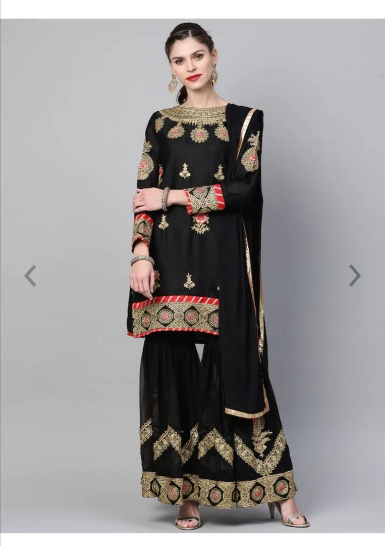 Chhabra 555 Women Black & Golden Made to Measure Embroidered Kurta with Sharara & Dupatta, Product Code: 11327328